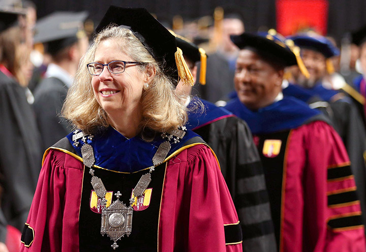 President Wendy Wintersteen in academic regalia.