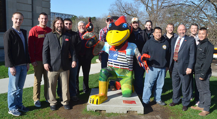 Leath  and ISU veterans outside the Memorial Union